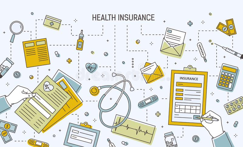 Horizontal banner template with hands filling out health insurance application form surrounded by medicines, medical. Tools, documents, money bills and coins vector illustration