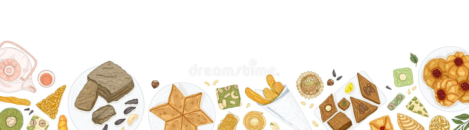 Horizontal banner template with oriental sweets on plates at bottom edge. Traditional dessert meals, tasty confections. Delicious pastry food on white vector illustration