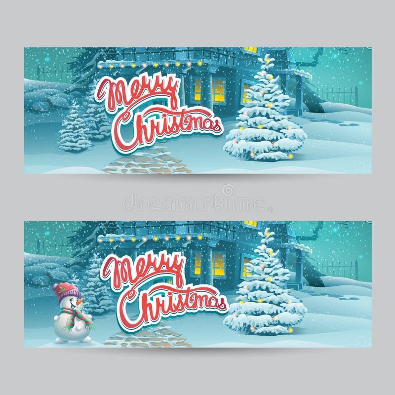 Horizontal banner - vector cartoon illustration Merry Christmas vector illustration