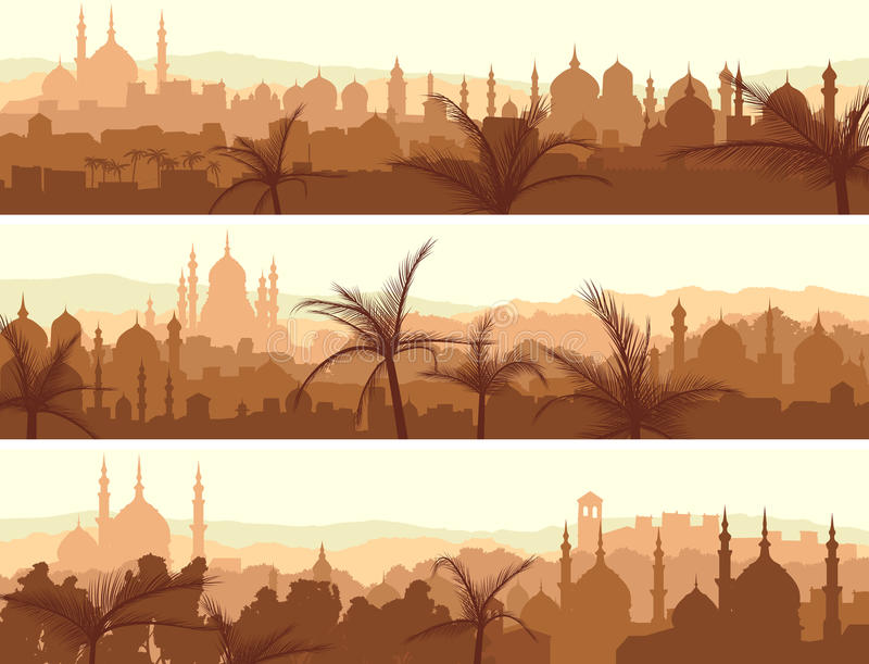 Horizontal banners of big arab city at sunset. royalty free illustration