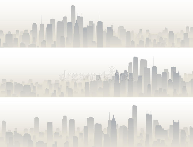 Horizontal banners of big city in haze. royalty free illustration