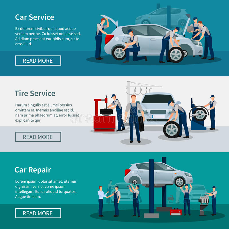 Horizontal Banners Of Car Service stock illustration