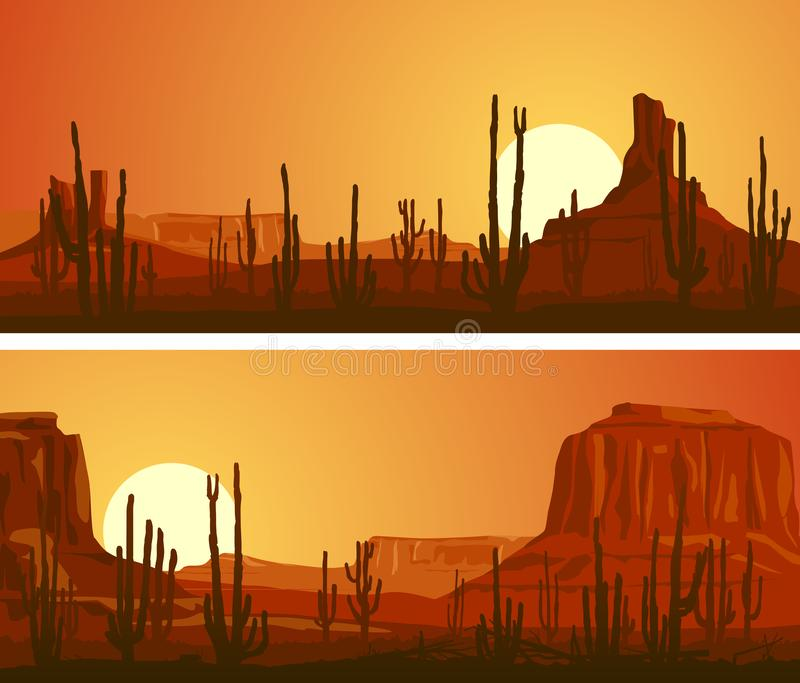 Horizontal banners of desert with cacti and rocks at sunset. royalty free illustration