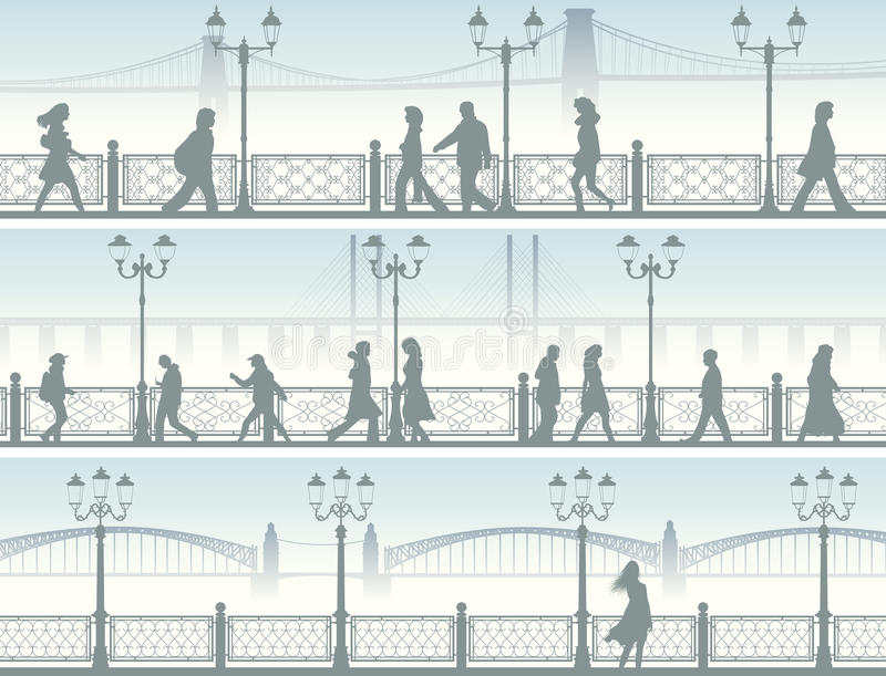 Horizontal banners of embankment with people. stock illustration