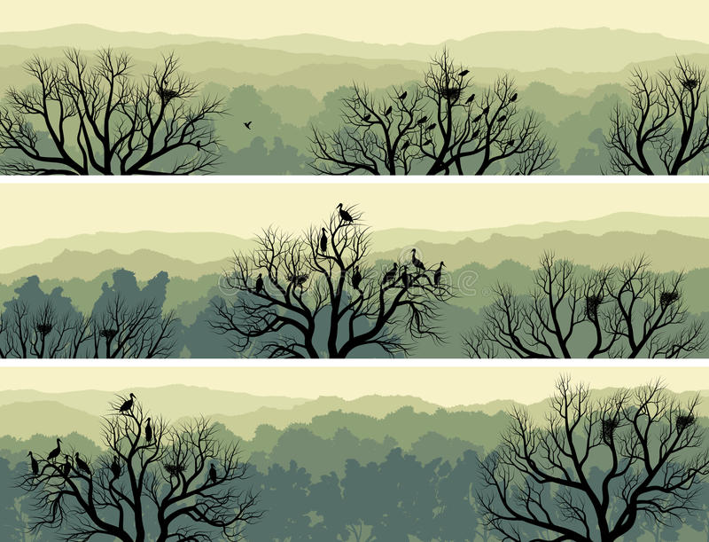 Horizontal banners of green forest with nest in tree. royalty free illustration