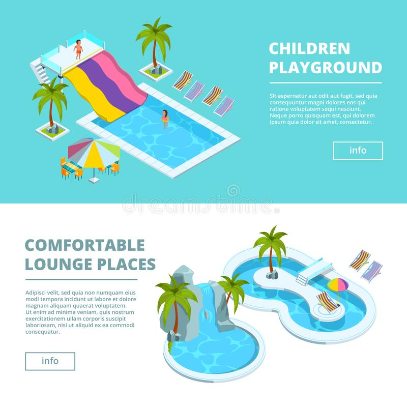 Horizontal banners with isometric pictures of water park and kids playgrounds. Vector aqua area with swimming pool and chaise, banner kid playground water vector illustration