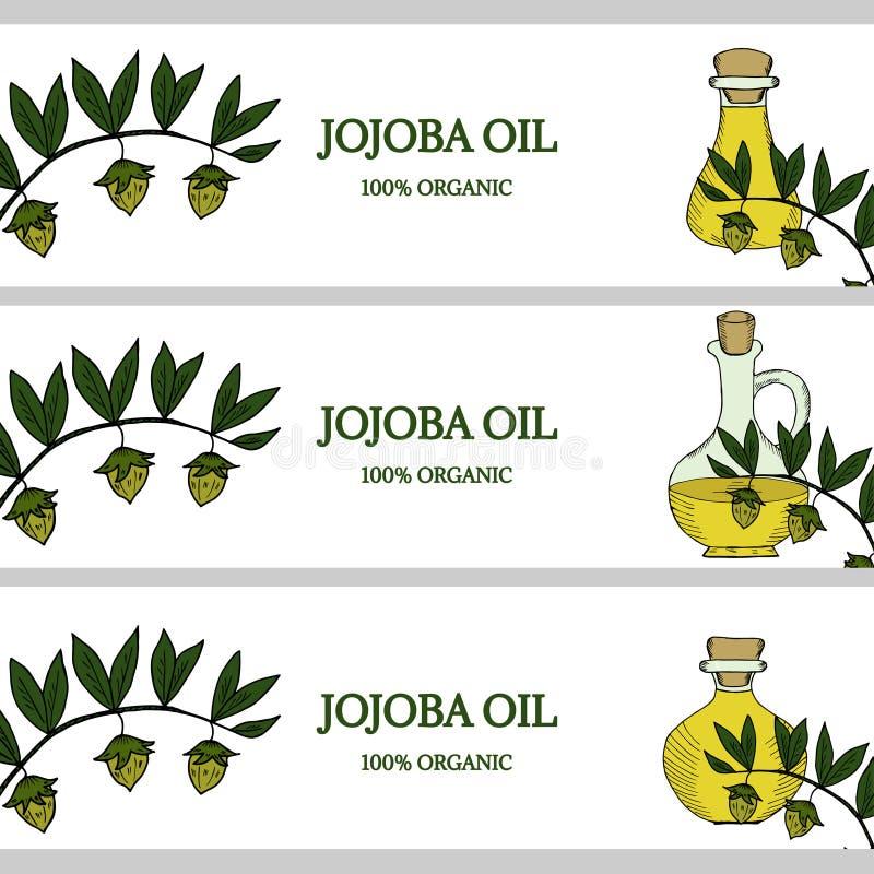 3 horizontal banners, jojoba oil in color royalty free illustration