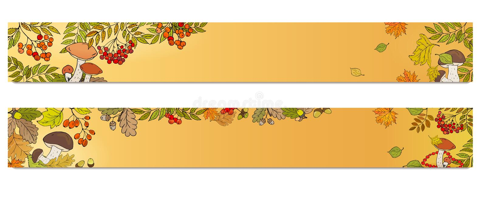 Horizontal banners with red rowan berries, mushrooms and leaves. Autumn theme royalty free illustration