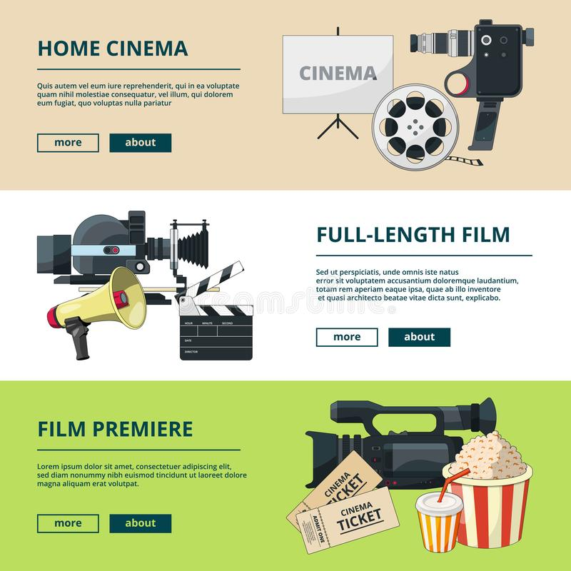 Horizontal banners set with cinema compositions. Video entertainment pictures royalty free illustration