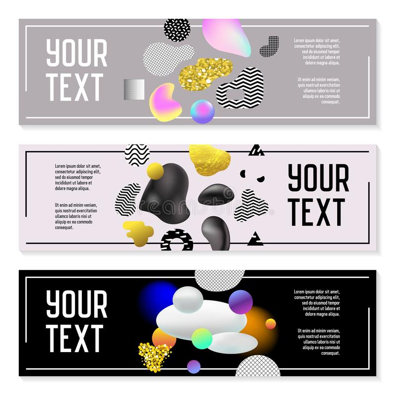 Horizontal Banners Set with Gold Glitter Fluid Shapes. Poster Invitation Voucher Brochure Templates Molecular Elements vector illustration