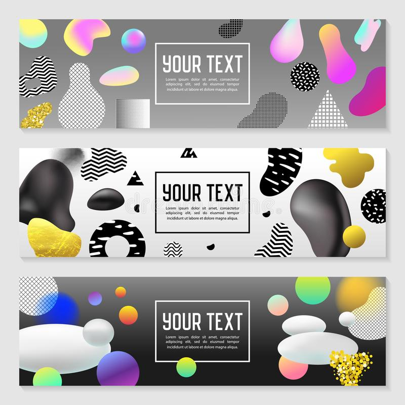 Horizontal Banners Set with Gold Glitter Fluid Shapes. Poster Invitation Voucher Brochure Templates Molecular Elements royalty free illustration