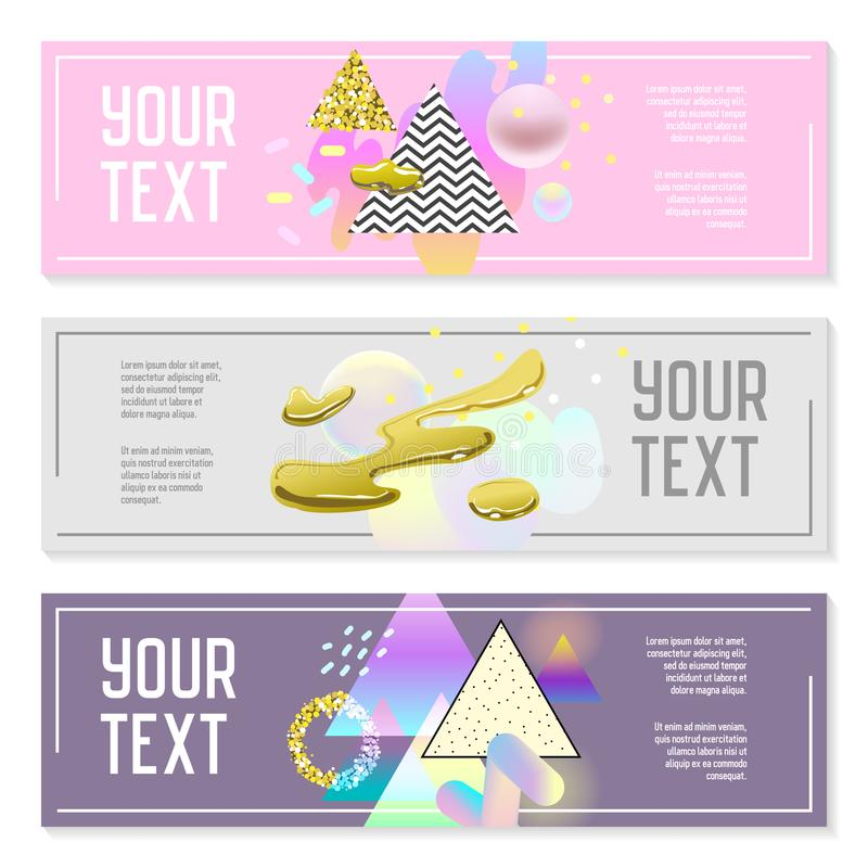 Horizontal Banners Set with Gold Glitter Geometric Elements and Fluid Shapes. Poster Invitation Voucher Templates stock illustration