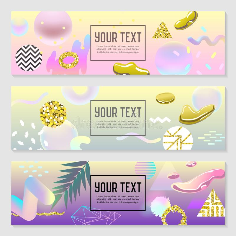 Horizontal Banners Set with Gold Glitter Geometric Elements and Fluid Shapes. Poster Invitation Voucher Templates royalty free illustration
