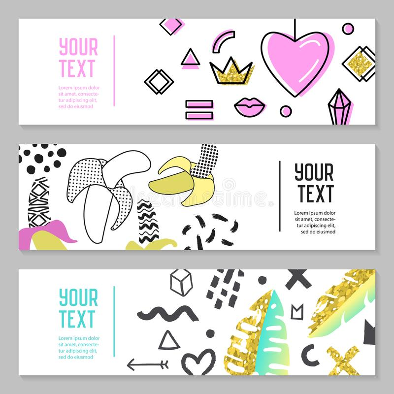 Horizontal Banners Set with Gold Glitter Geometric Elements, Hearts and Tropical Leaves. Poster Invitation Voucher vector illustration