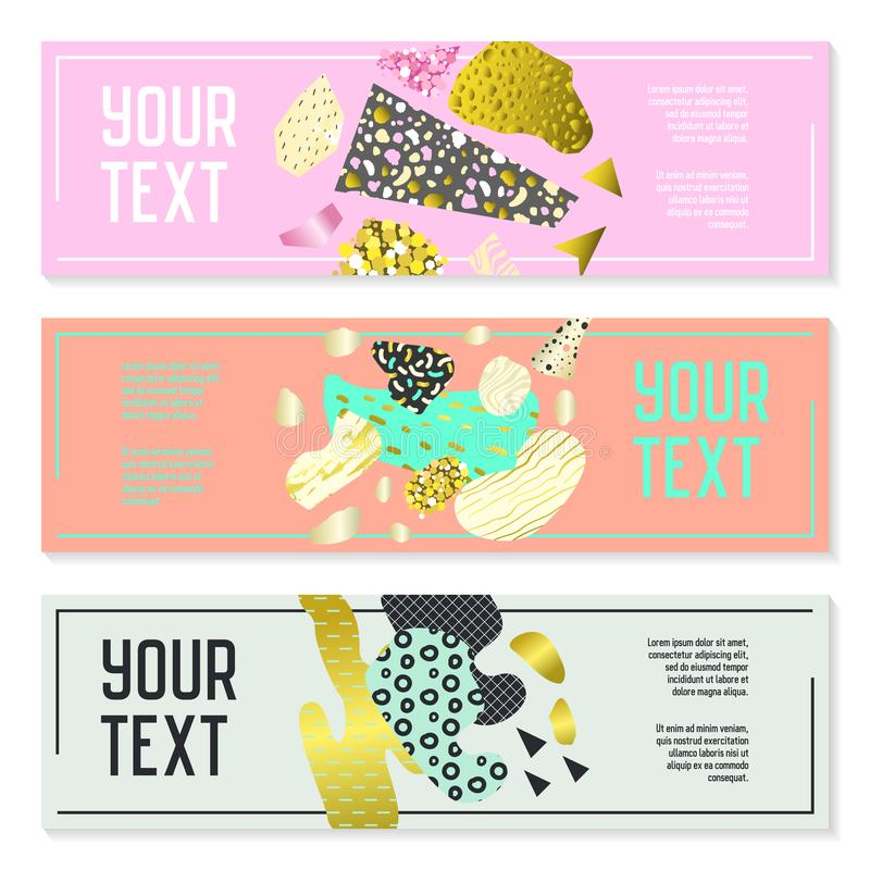 Horizontal Banners Set with Gold Glitter Geometric Elements. Poster Invitation Voucher Brochure Templates. Abstract Card stock illustration
