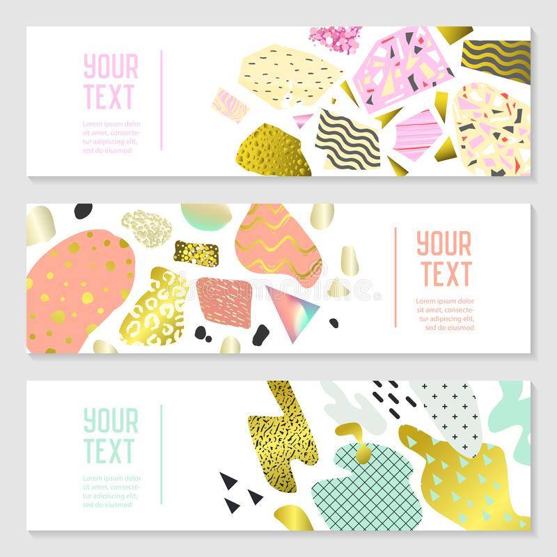 Horizontal Banners Set with Gold Glitter Geometric Elements. Poster Invitation Voucher Brochure Templates. Abstract Card royalty free illustration