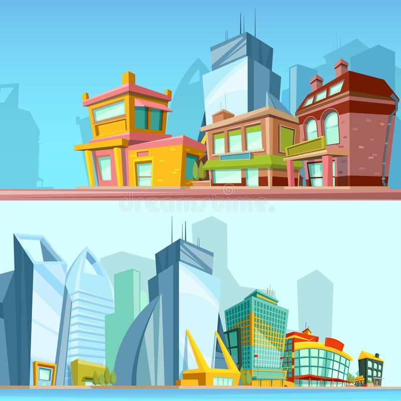 Horizontal banners with urban streets and modern buildings. Illustrations in cartoon style. Town with colored building, landscape urban architecture vector stock illustration
