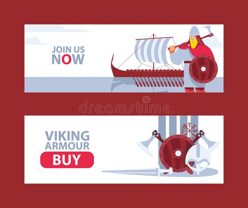 Horizontal banners for viking and medieval history reenactors or cosplay royalty free illustration
