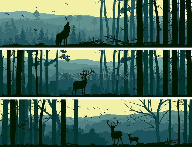 Horizontal banners of wild animals in hills wood. royalty free illustration