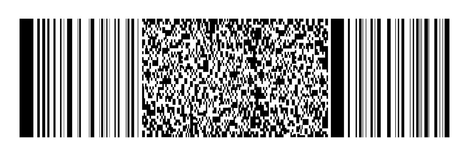 Horizontal black bar code and qr code on white for pattern,background and design,vector illustration royalty free illustration