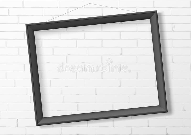 Horizontal Black Empty Frame From Wood Stock Vector - Illustration ...