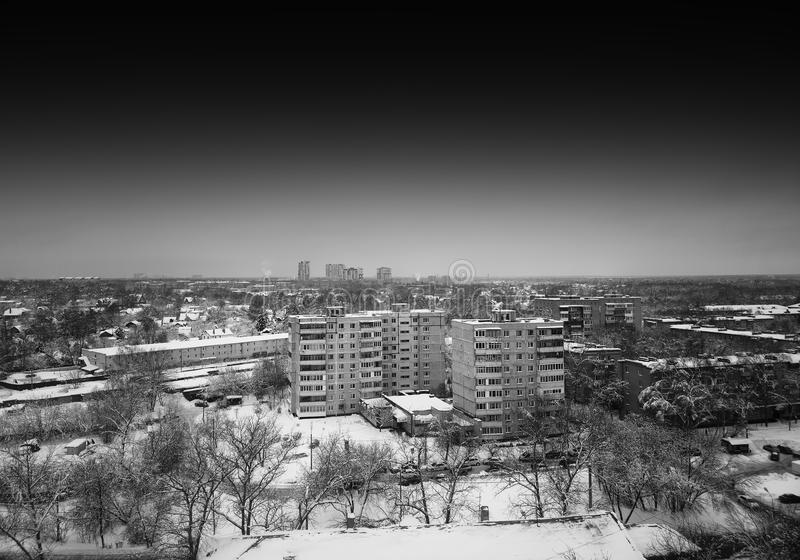 Horizontal black and white Moscow city suburbs background. Hd stock photo