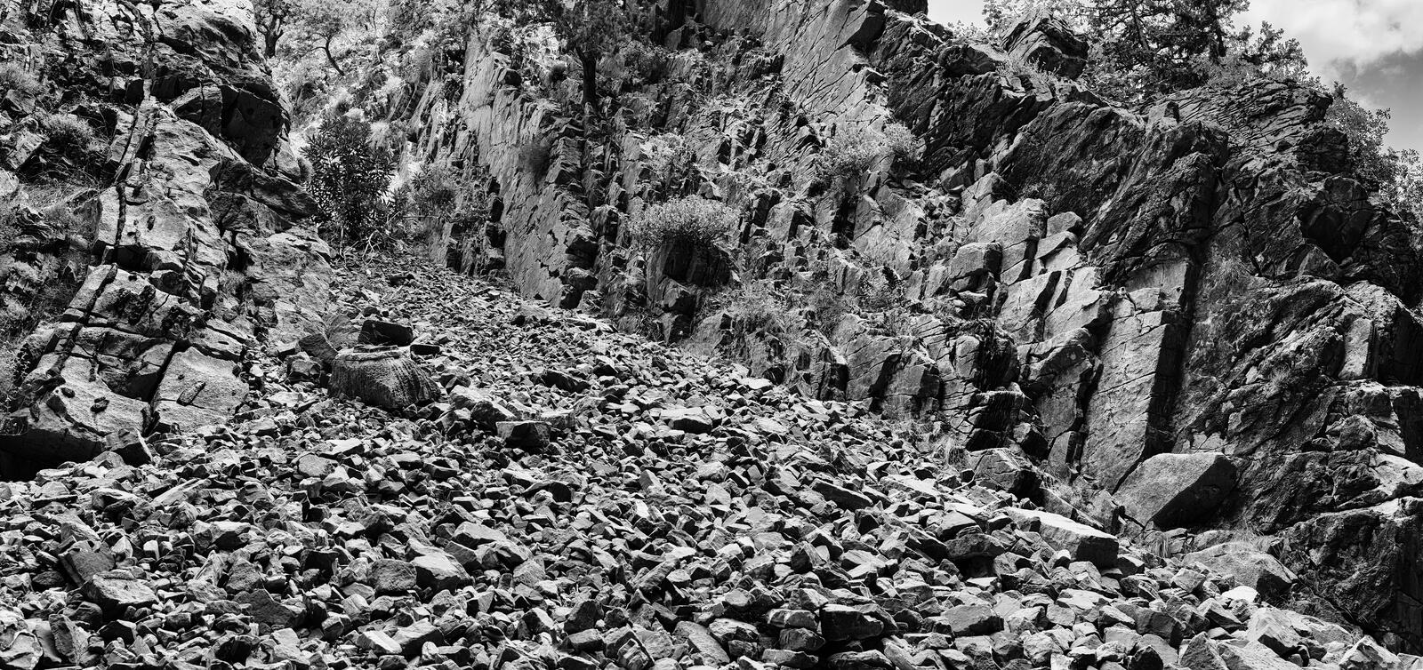 Horizontal black and white mountain landslide landscape backgrou stock images