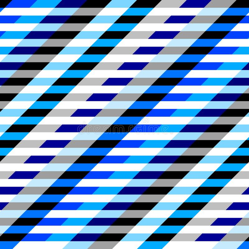 Horizontal blue strips pattern in a patchwork collage style. stock illustration
