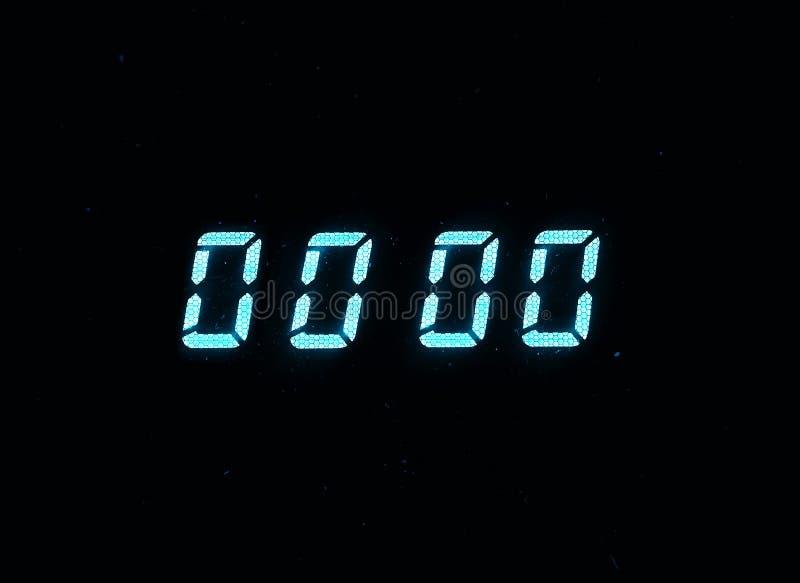 Horizontal blue vintage digital zero display clock with dust stock image