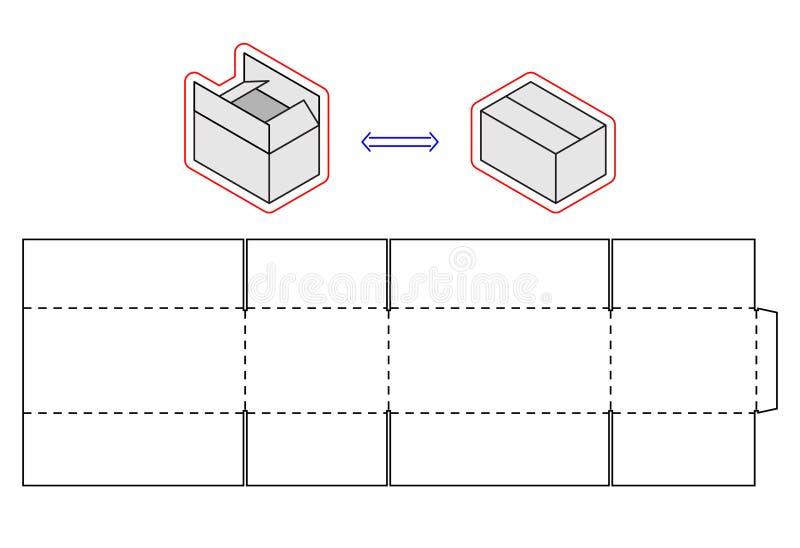 Horizontal box template. Vector packing. Simple Cardboard cut royalty free illustration