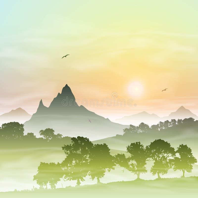 Horizontal brumeux de forêt illustration libre de droits