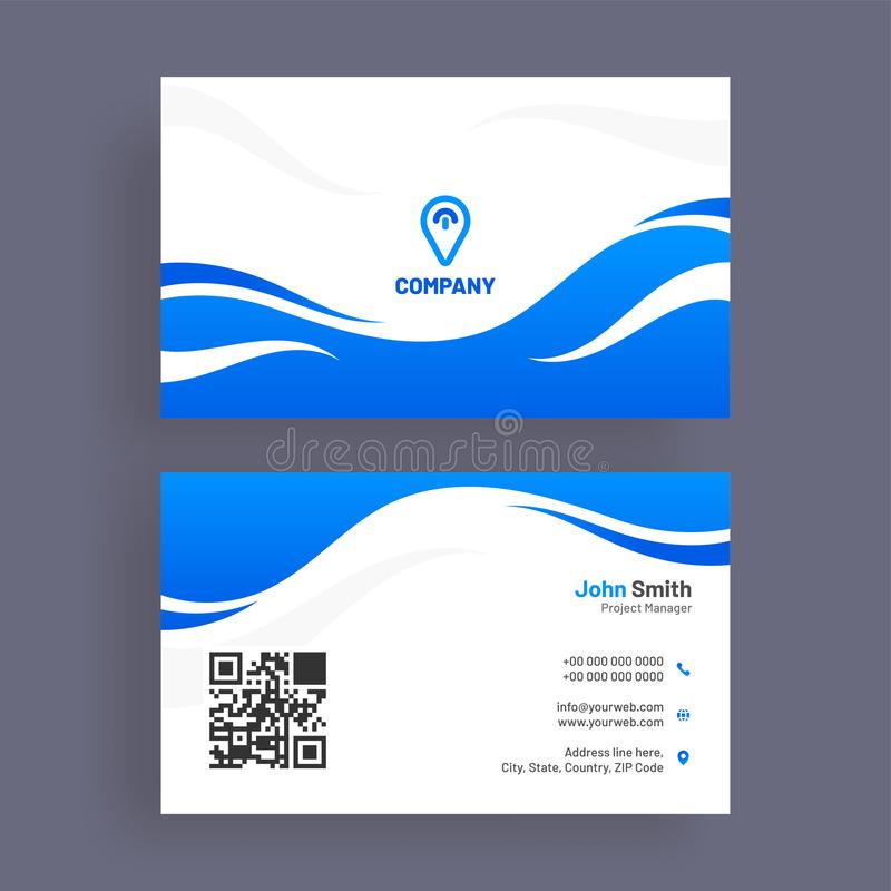 Horizontal business card with front and back presentation. vector illustration