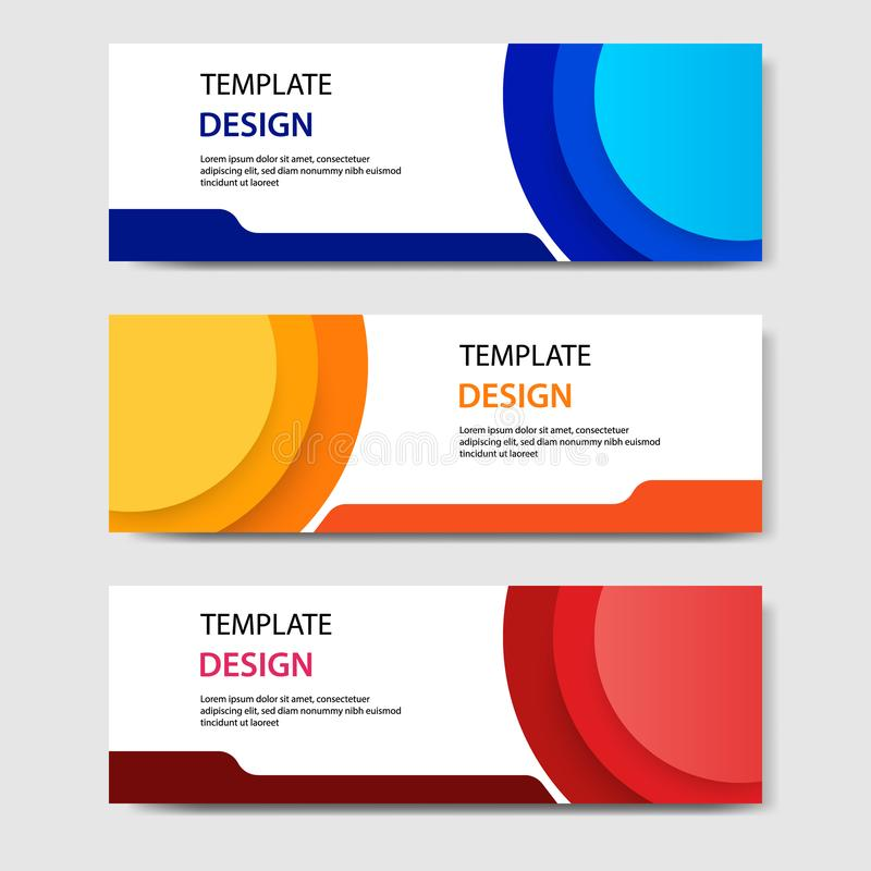 Horizontal geometric shape banner template abstract paper cut style. Vector design layout for web, banner, header, print flyers royalty free illustration