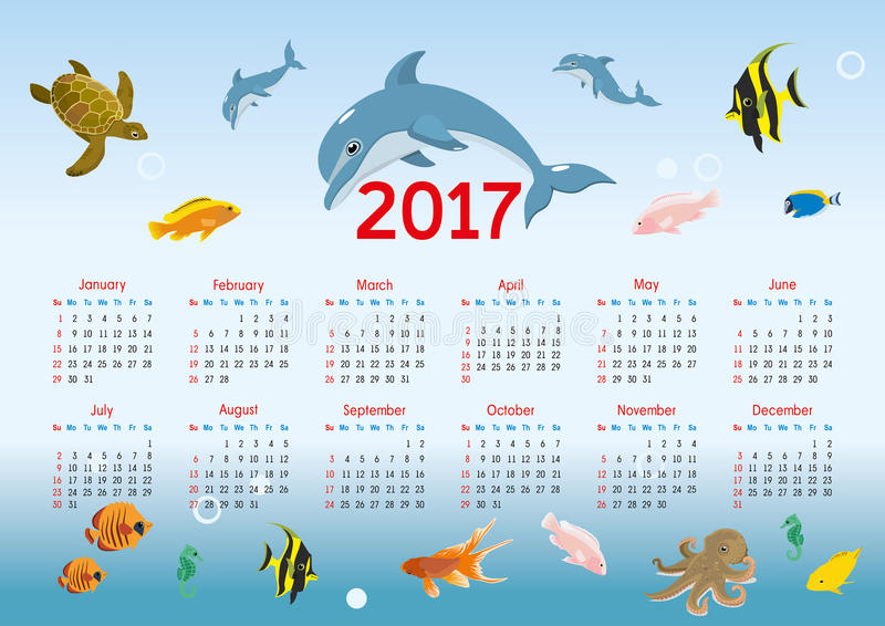 Horizontal calendar 2017. nautical theme. vector vector illustration