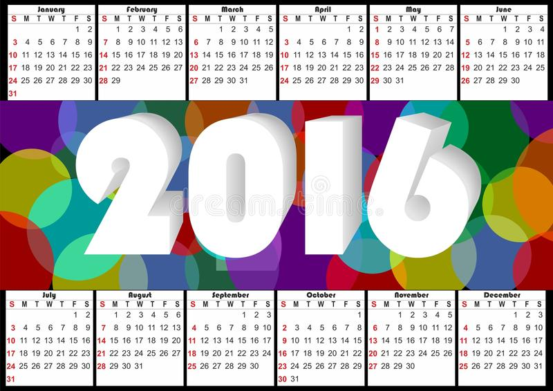 2016 Horizontal Calendar With Rainbow Overlapping Colorful Bubbles