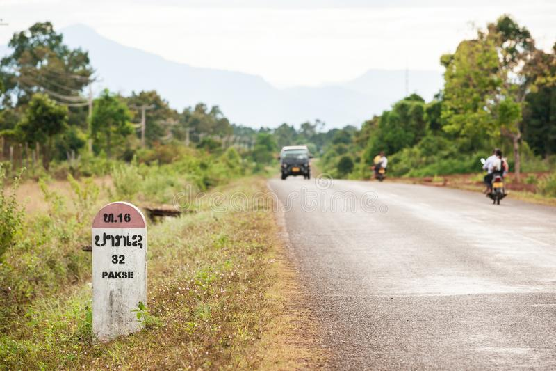 Horizontal capture of 32 kilometers to Pakse Milestone on the Na royalty free stock images
