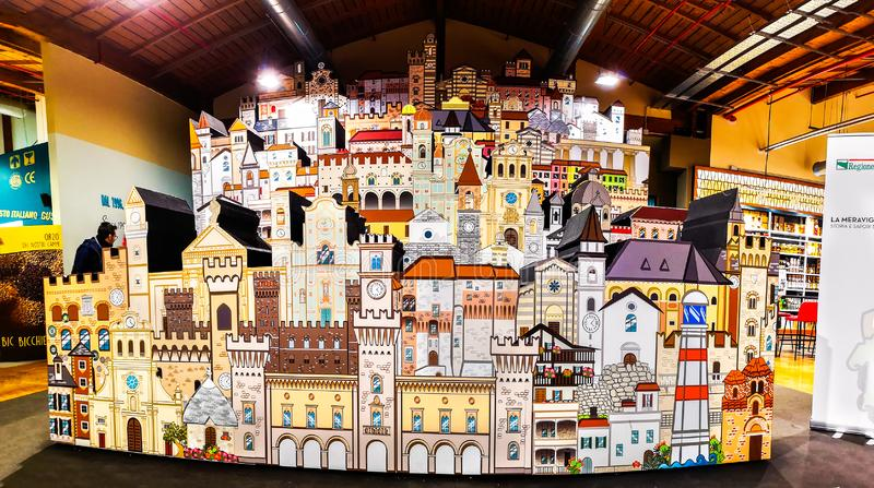 Horizontal cardboard model representing villages and cities of Italy royalty free stock image