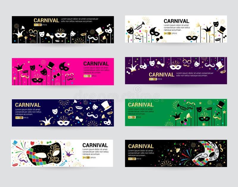 Horizontal carnival web banner masks celebration festive carnaval masquerade background festival flyer vector. Illustration. Costume mardi gras poster stock illustration