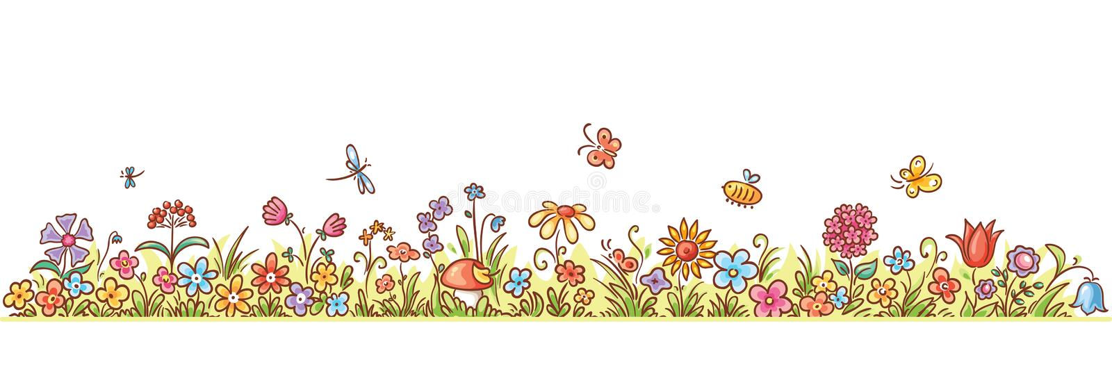 download horizontal cartoon flower border stock vector image 50030449