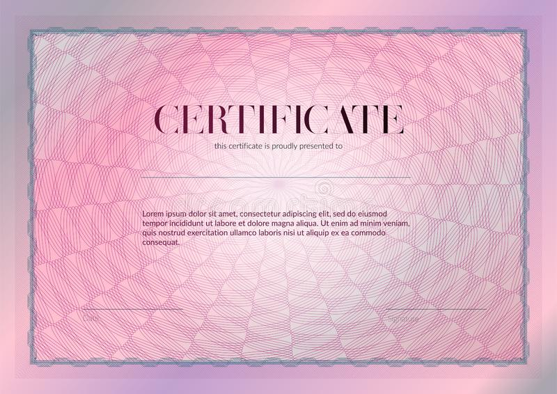 Horizontal certificate with guilloche and watermark vector template design. Diploma design graduation, award, success. Award. Background. Pink Gift voucher stock photos