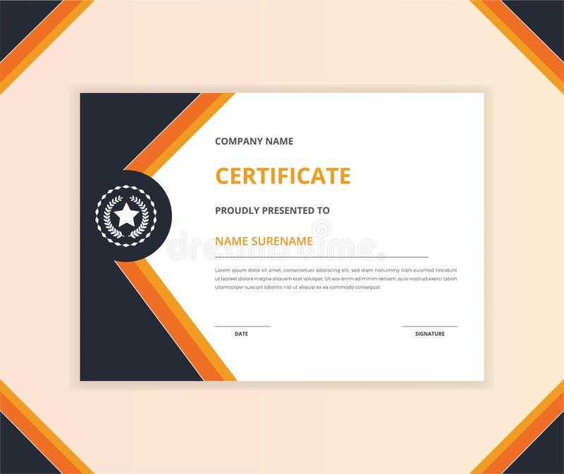 Horizontal certificate template with luxury badge and modern shape. For award and education stock photography
