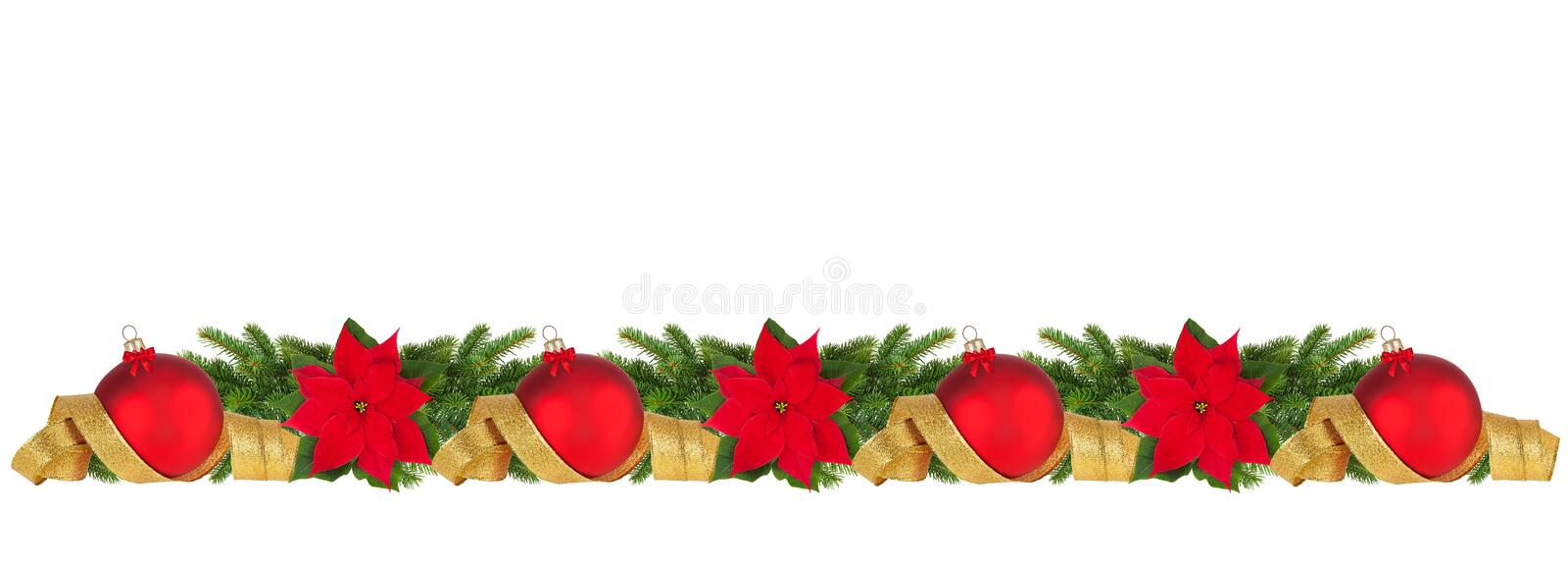 Horizontal christmas border stock photo image