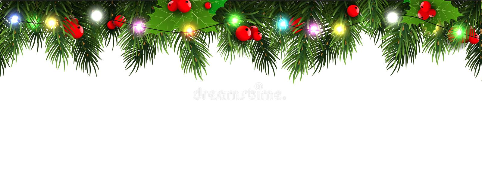 Horizontal Christmas border frame with fir branches, pine cones, berries and lights. Vector illustration. stock illustration