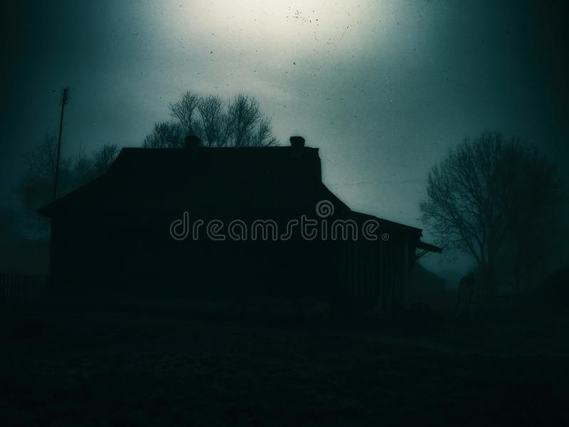 Horizontal classic zombie horror cabin with zombie scary backgro. Und house haunted old thailand abandoned nature green farm vintage landscape outdoor scene royalty free stock photography