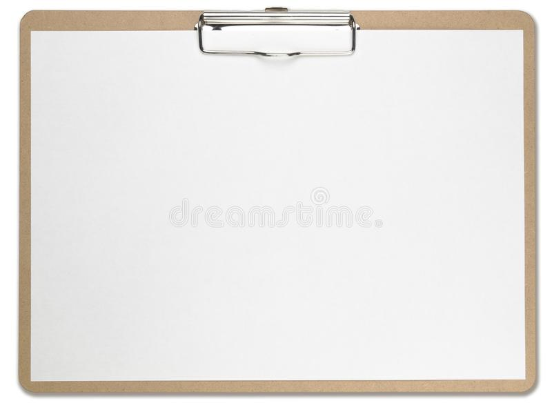 Horizontal clipboard with blank white paper. stock photography
