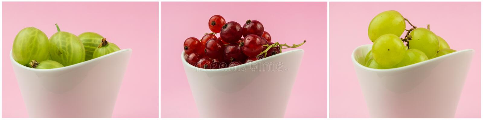 Horizontal collection of goosberries, grapes and red currants in stock photos