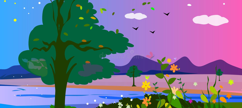 Horizontal coloré de campagne photo libre de droits