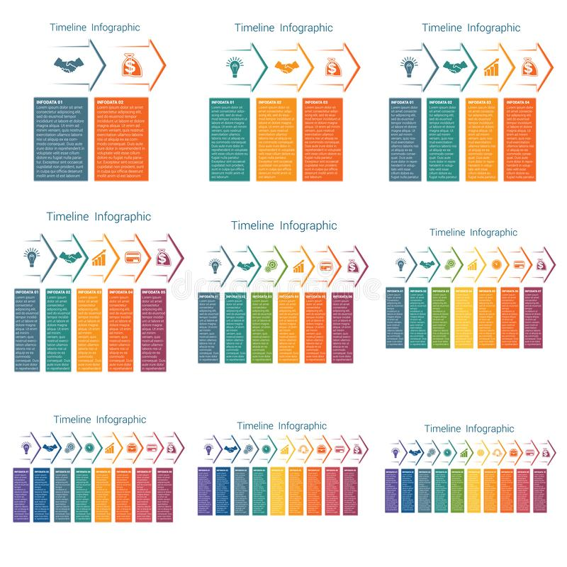Horizontal color arrows, templates infographics for 2,3,4,5,6,7,8,9,10 positions. Timeline royalty free illustration