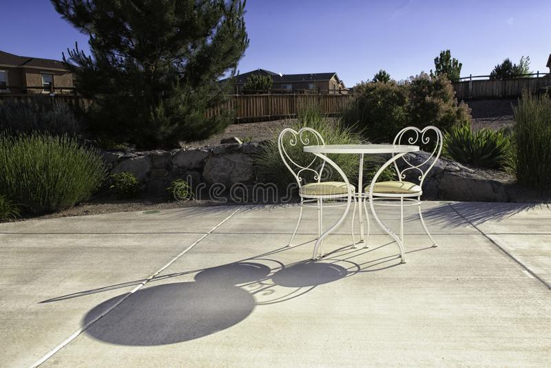 Chair, Table, Backyard And Reflection Stock Photo - Image ...