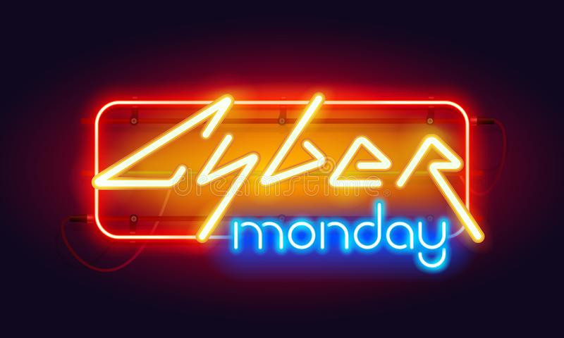 Horizontal Colorful Neon Cyber Monday Sign stock illustration